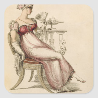 Vestido de noche o vestido de bola, placa de moda  calcomania cuadrada personalizada