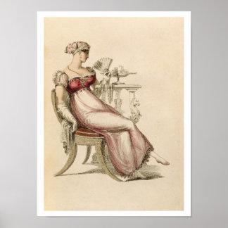 Vestido de noche o vestido de bola, placa de moda  póster