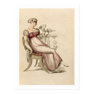 Vestido de noche o vestido de bola, placa de moda tarjeta postal