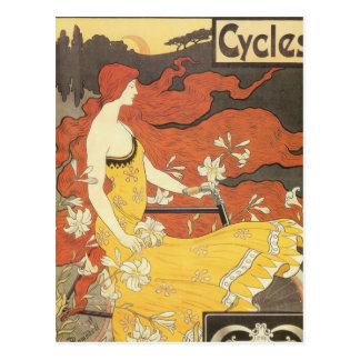 Vestido del amarillo del chica de la bicicleta del tarjetas postales