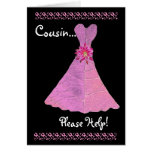 Vestido del AZUL de la invitación de la dama de Tarjetas
