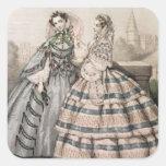 Vestido del día para 1858, grabado por Barreau Pegatina Cuadrada