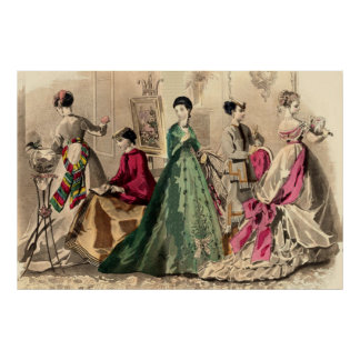Vestido del Victorian con el arco rosado Póster