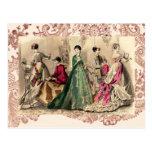 Vestido del Victorian con el arco rosado Tarjeta Postal