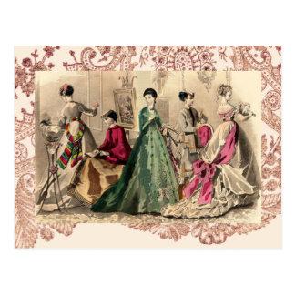 Vestido del Victorian con el arco rosado Tarjetas Postales
