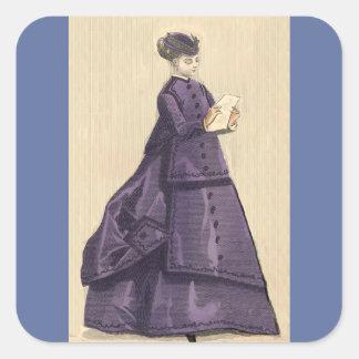 Vestido del Victorian Pegatina Cuadrada