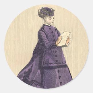 Vestido del Victorian Pegatina Redonda