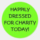 Vestido feliz para la caridad pegatina redonda