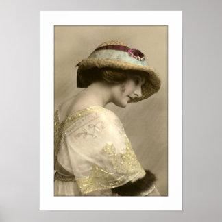 vestido goteado gorra de la mujer del victorian poster