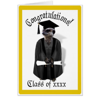 Vestido graduado de Meerkat W/Grey y marco negro Tarjeta De Felicitación