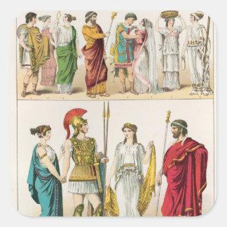 Vestido griego, del 'der Voelker de Trachten, 1864 Calcomanías Cuadradas