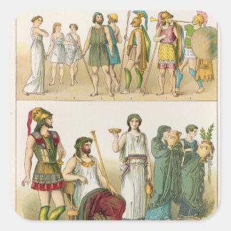 """Vestido griego, del """"der Voelker de Trachten"""", Calcomania Cuadrada Personalizada"""
