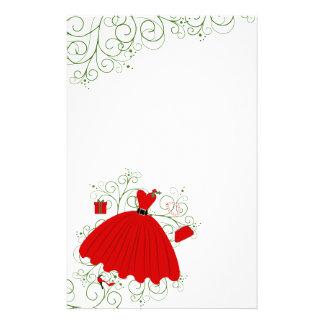 Vestido hermoso del navidad papeleria personalizada