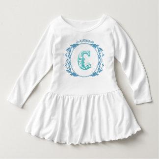 """Vestido inicial de la niña pequeña de """"C"""" del Vestido Con Volantes Para Niñas"""