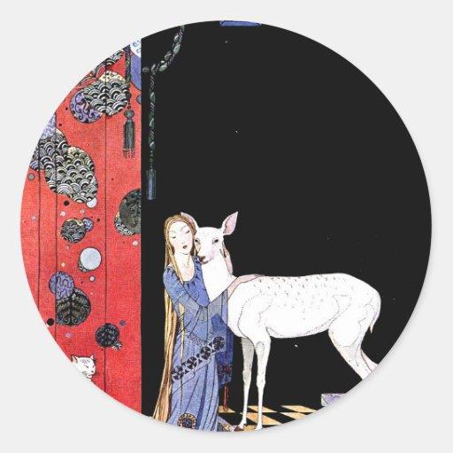 vestido medieval pegatina redonda