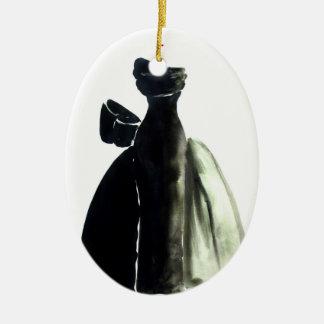 Vestido negro abstracto adorno navideño ovalado de cerámica