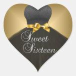 Vestido negro del oro dieciséis del dulce 16 del calcomanía de corazón personalizadas
