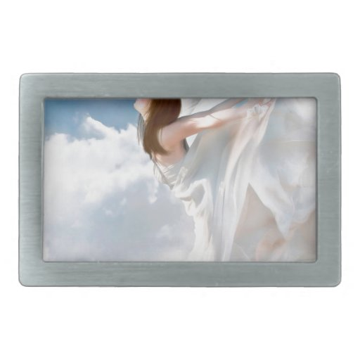 Vestido nublado del alboroto del ángel abstracto hebillas cinturón rectangulares