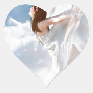 Vestido nublado del alboroto del ángel abstracto pegatina en forma de corazón