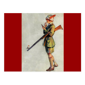 Vestido para cazar tarjeta postal