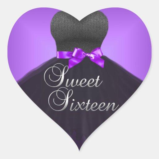 Vestido púrpura dieciséis del dulce 16 del corazón colcomanias corazon