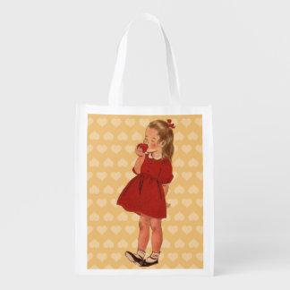 Vestido rojo Apple de la niña del vintage Bolsa Para La Compra