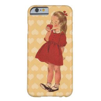 Vestido rojo Apple de la niña del vintage Funda De iPhone 6 Barely There