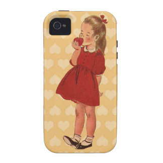 Vestido rojo Apple de la niña del vintage iPhone 4 Funda