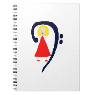 Vestido rojo azul femenino rubio del clef bajo libros de apuntes