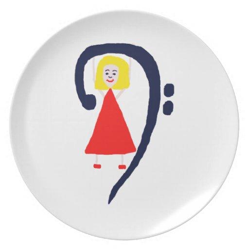 Vestido rojo azul femenino rubio del clef bajo plato
