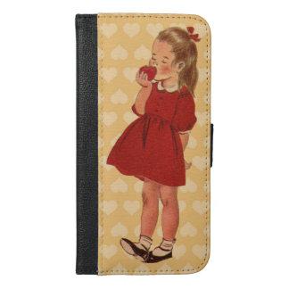 Vestido rojo de la niña del vintage que come Apple