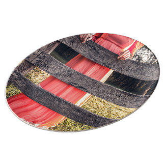 vestido rojo del vintage plato de cerámica