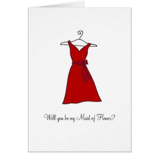 ¿Vestido rojo, usted será mi criada del honor? Tarjeta Pequeña