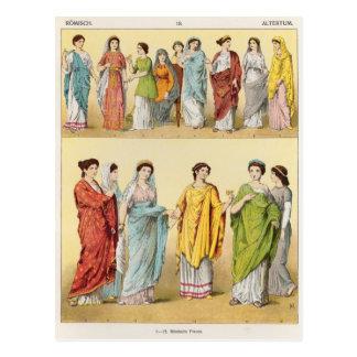 Vestido romano femenino tarjeta postal