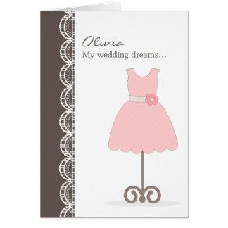 ¿Vestido rosado bonito usted será mi florista? Tar Tarjeta De Felicitación