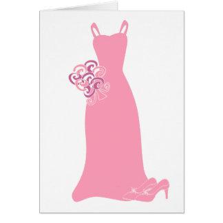 Vestido rosado de la dama de honor tarjeta de felicitación