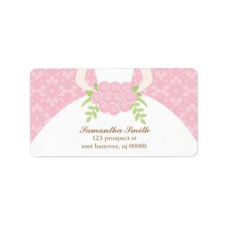 Vestido rosado del damasco y de boda etiqueta de dirección