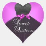 Vestido rosado dieciséis del dulce 16 del corazón calcomania corazon personalizadas
