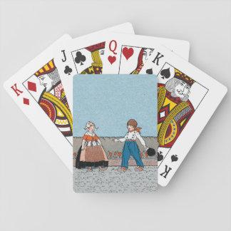 Vestido tradicional del pequeño muchacho holandés  baraja de cartas