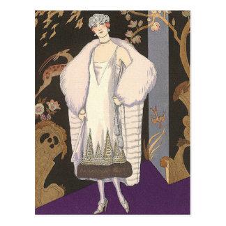 Vestido y capa italianos George Barbier Postal