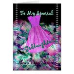 Vestido y flores púrpuras del florista de la felicitación