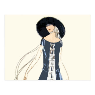 vestido y gorra de la moda de las mujeres de los a tarjetas postales