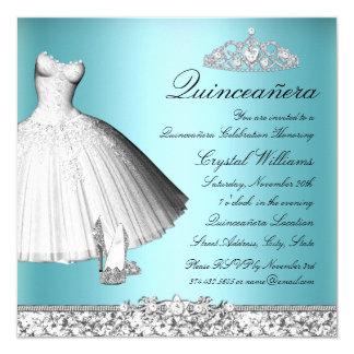 """Vestido y talones azules Quinceanera del brillo de Invitación 5.25"""" X 5.25"""""""