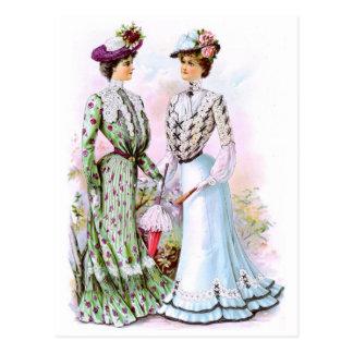 Vestidos 1901 del vintage postal