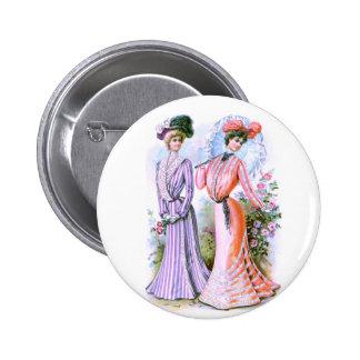 vestidos de la moda de los 1900s pin redondo de 2 pulgadas