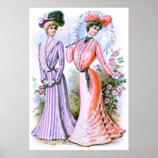 vestidos de la moda de los 1900s póster