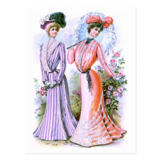 vestidos de la moda de los 1900s tarjeta postal