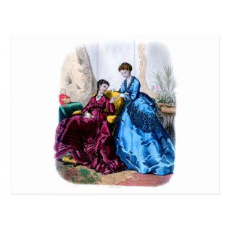 Vestidos del azul y de la frambuesa de Illustree Tarjetas Postales