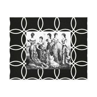 Vestidos del VINTAGE negros y lona blanca del ABRI Impresión En Lienzo