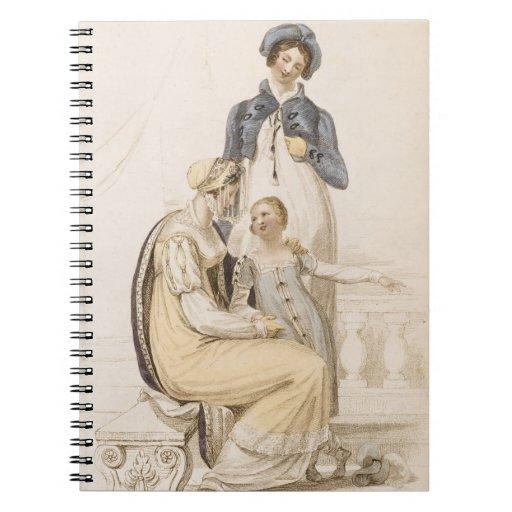 Vestidos que caminan, placa de moda de Ackermann c Spiral Notebooks